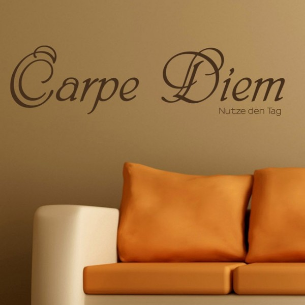 carpe diem zitat als wandtattoo. Black Bedroom Furniture Sets. Home Design Ideas