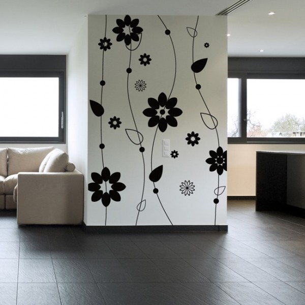 blumen wandtattoo. Black Bedroom Furniture Sets. Home Design Ideas